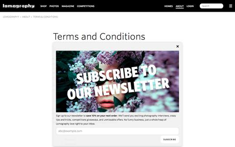 Screenshot of Terms Page lomography.com - Terms & Conditions · Lomography - captured Sept. 21, 2018