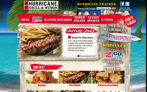 Screenshot of Menu Page hurricanewings.com - Menu | Hurricane Grill & Wings - captured Sept. 19, 2014