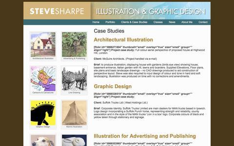 Screenshot of Case Studies Page sharpegraphics.co.uk - Case Studies - Steve SharpeSteve Sharpe - captured Dec. 8, 2017