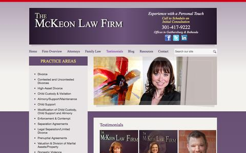 Screenshot of Testimonials Page mckeonlawfirm.com - Testimonials | The McKeon Law Firm | Gaithersburg, Maryland - captured Oct. 8, 2014