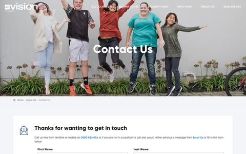 Screenshot of Contact Page visioncollege.ac.nz - Contact Us - Vision College - captured Oct. 26, 2018