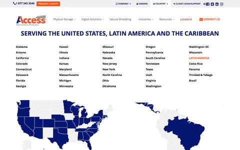 Screenshot of Locations Page informationprotected.com - Serving the United States, Latin America, and the Caribbean | Access - captured July 21, 2016