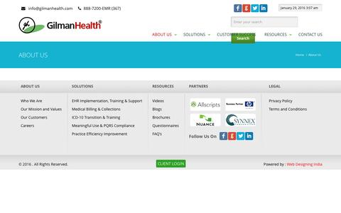 Screenshot of About Page gilmanhealth.com - About Us | GilmanHealth - captured Jan. 29, 2016
