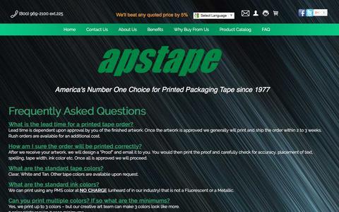 Screenshot of FAQ Page apstape.com - APS Tape - FAQ - captured Nov. 19, 2016