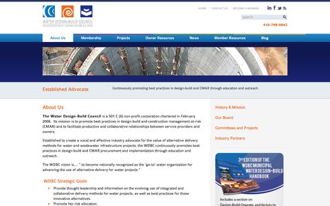 Screenshot of About Page waterdesignbuild.com - Water Wastewater Infrastructure Projects Design-Build Construction-Management - captured Oct. 7, 2014