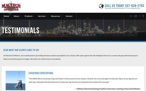Screenshot of Testimonials Page mactechoffshore.com - Testimonials | Mactech Offshore Solutions - captured July 27, 2018