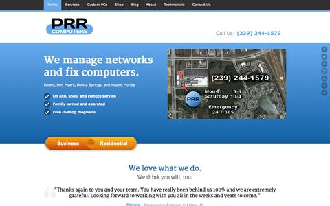 Screenshot of Home Page prrcomputers.com - Estero Computer Repair Service | PRR Computers, LLC - captured Sept. 18, 2015