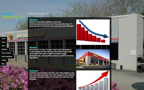 Screenshot of Case Studies Page radiohospitality.com - Midas International   Radio Hospitality Group - captured Oct. 27, 2014
