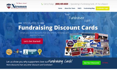 Screenshot of Home Page xtramanfundraising.com - Fundraising Cards - Rated The #1 Discount Card Fundraiser - captured Oct. 1, 2015