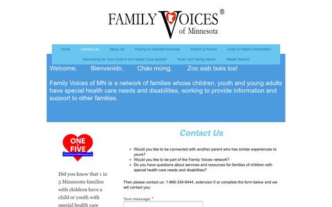 Screenshot of Contact Page familyvoicesofminnesota.org - Contact Us - captured Oct. 5, 2014
