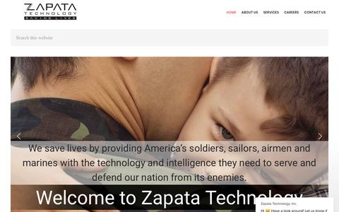 Screenshot of Home Page zapatatechnology.com - Zapata Technology, Inc. says… - captured Sept. 12, 2019