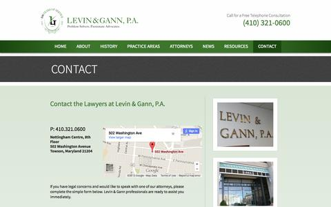 Screenshot of Contact Page levingann.com - Contact | Levin & Gann, P.A. - captured July 21, 2015