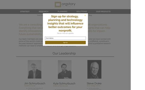 Screenshot of About Page orgstory.org - OrgStory Leadership - captured Dec. 6, 2016