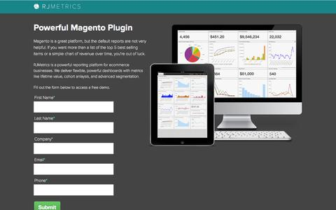 Screenshot of Landing Page rjmetrics.com - Magento Plugin - RJMetrics - captured Oct. 27, 2014