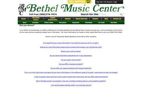 Screenshot of FAQ Page bmcmusicsource.com - Did you Know? - captured Oct. 5, 2014