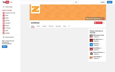 Screenshot of YouTube Page youtube.com - zurbaines  - YouTube - captured Oct. 26, 2014