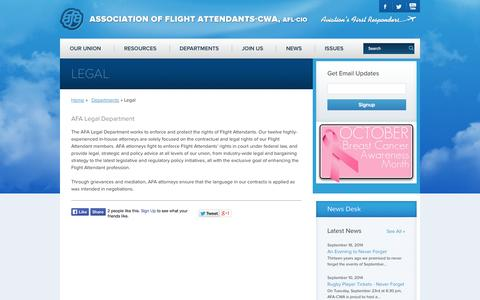 Screenshot of Terms Page afacwa.org - Legal - Association of Flight Attendants-CWA - captured Oct. 4, 2014