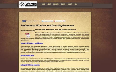 Screenshot of Products Page warrenwindowandsupply.com - Quality Window and Door Replacement | Warren Window and Supply - captured Oct. 27, 2014