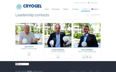 Screenshot of Team Page airclima-research.com - Leadership contacts | CRYOGEL - captured Sept. 30, 2014