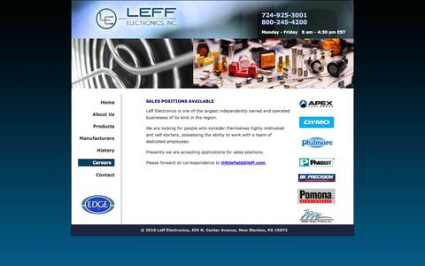 Screenshot of Jobs Page leff.com - Leff Electronics - Contact Us - captured July 31, 2017