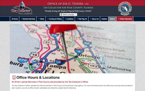 Screenshot of Locations Page polktaxes.com - Tax Collector for Polk County - captured Nov. 8, 2016