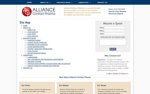 Screenshot of Site Map Page alcoph.com - Site Map - Alliance Contract Pharma - captured Nov. 20, 2016