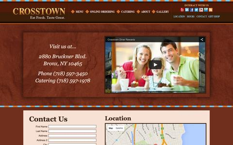 Screenshot of Contact Page Hours Page crosstowndiner.com - Contact Us Crosstown Diner Bronx, NY - captured Dec. 6, 2015