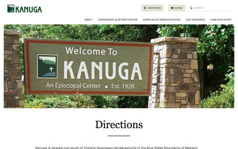 Screenshot of Maps & Directions Page kanuga.org - Directions | Kanuga Hendersonville NC - captured June 9, 2017