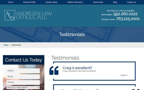 Screenshot of Testimonials Page andresenlaw.com - Testimonials | Andresen Law Offices - captured April 25, 2017