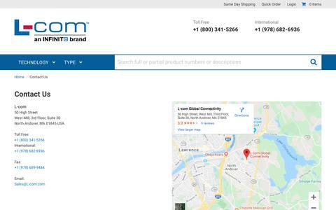 Screenshot of Contact Page l-com.com - Contact Us - captured Jan. 21, 2020
