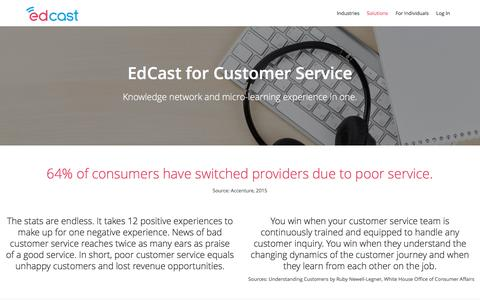 Screenshot of Support Page edcast.com - EdCast - Knowledge network & micro-learning for customer service - captured July 19, 2016