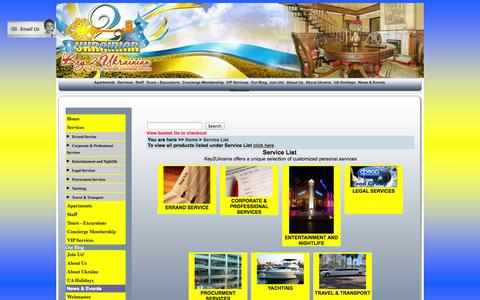 Screenshot of Services Page key2ukraine.com - Key2Ukraine. the First Concierge Service in Ukraine. Services - captured Sept. 30, 2014