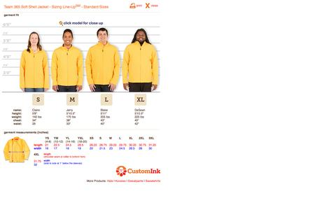 Screenshot of customink.com - CustomInk.com Sizing Line-Up for Team 365 Soft Shell Jacket - Standard Sizes - captured Aug. 19, 2016