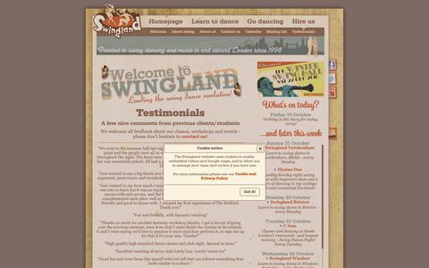 Screenshot of Testimonials Page swingland.com - Swingland : Testimonials - captured Oct. 19, 2018