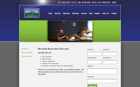 Screenshot of Contact Page solarips.com - Contact Us - captured Oct. 4, 2014
