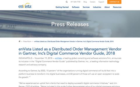 Screenshot of Team Page envistacorp.com - enVista Listed as Vendor in Gartner, Inc's Digital Commerce Vendor Guide - captured Feb. 20, 2020