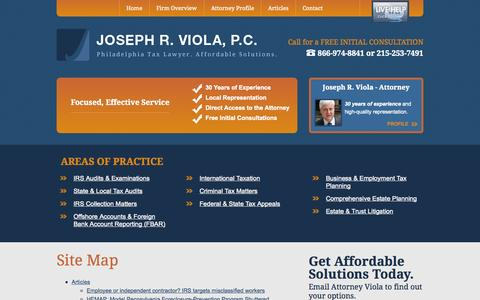 Screenshot of Site Map Page jrviola.com - Site Map | Joseph R. Viola, P.C. | Philadelphia, Pennsylvania - captured Oct. 6, 2014