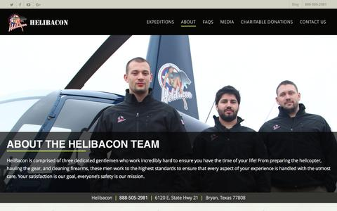 Screenshot of Team Page helibacon.com - About Our Helicopter Hog Hunting & Aerial Machine Gun Range Team - captured May 17, 2017