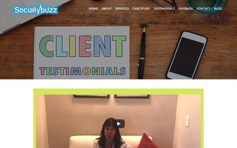 Screenshot of Testimonials Page sociallybuzz.com - Testimonials - Social Media Services and Management - captured July 26, 2018