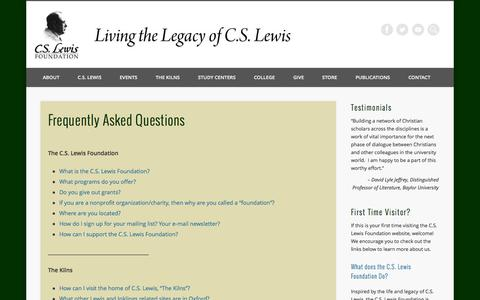 Screenshot of FAQ Page cslewis.org - Frequently Asked Questions - C.S. Lewis Foundation - captured Sept. 23, 2014