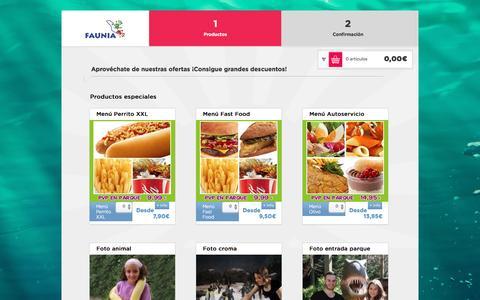 Screenshot of Products Page faunia.es - Faunia entradas - captured Jan. 8, 2016