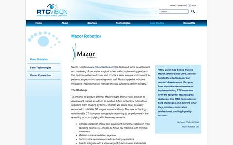 Screenshot of Case Studies Page rtc-vision.com - Mazor Robotics | RTC Vision - Computer Vision & Imaging Technologies - captured Oct. 7, 2014