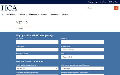 Screenshot of Signup Page hcahealthcare.com - Sign up | HCA Healthcare - captured June 8, 2018