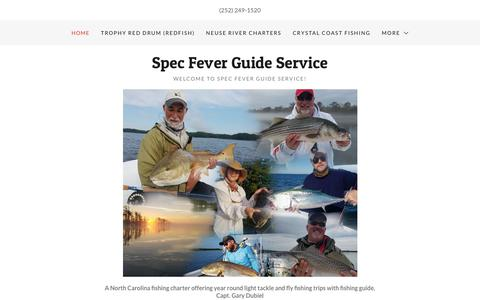 Screenshot of Home Page specfever.com - Spec Fever Guide Service - NC Fishing Charters, Fishing Guide - captured Oct. 19, 2018