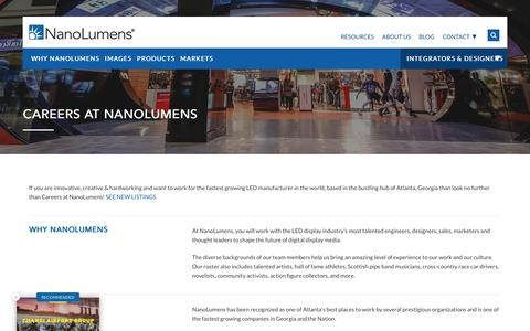 Screenshot of Jobs Page nanolumens.com - Jump Starting Careers at NanoLumens - captured Oct. 12, 2018