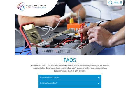 Screenshot of FAQ Page nursecallsystems.co.uk - FAQ's | Courtney Thorne nurse call systems - captured Nov. 16, 2019