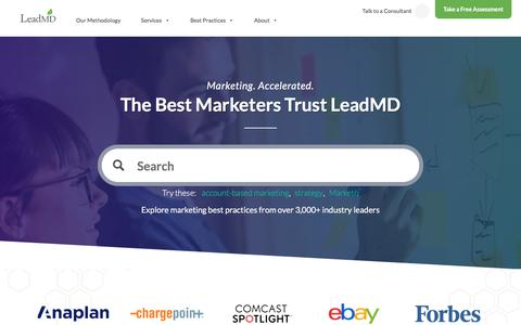 Screenshot of Home Page leadmd.com - LeadMD | Revenue Acceleration Agency | Marketing & Sales Consulting - captured July 4, 2018