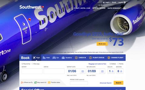 Screenshot of Home Page southwest.com - Southwest Airlines | Book Flights, Airline Tickets, Airfare - captured Jan. 5, 2016