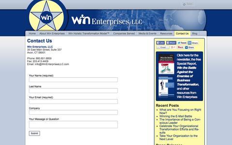 Screenshot of Contact Page winenterprisesllc.com - Contact Us | Win Enterprises, LLC - captured Oct. 7, 2014