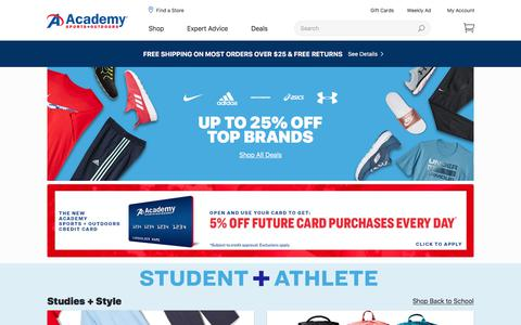 Screenshot of Home Page academy.com - Academy Sports + Outdoors | Quality Sporting Goods | Top Hunting, Fishing & Outdoor Gear - captured Aug. 1, 2019
